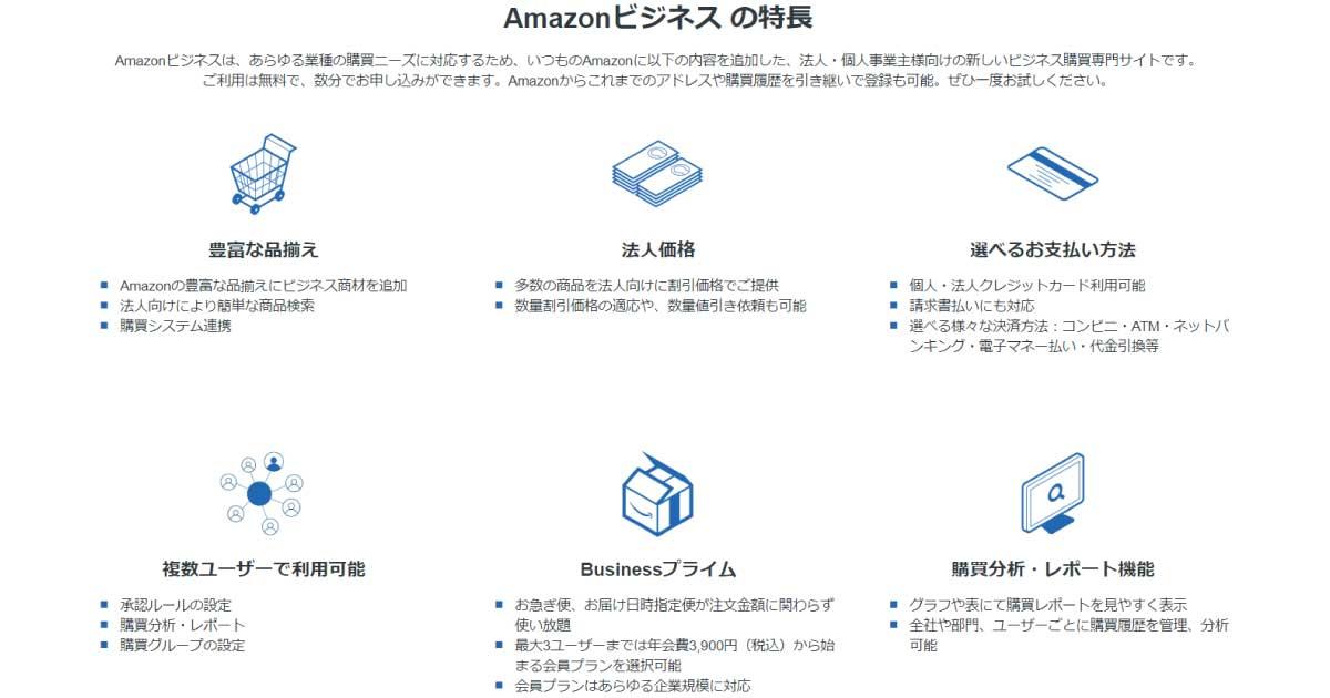 アマゾンビジネスの特徴